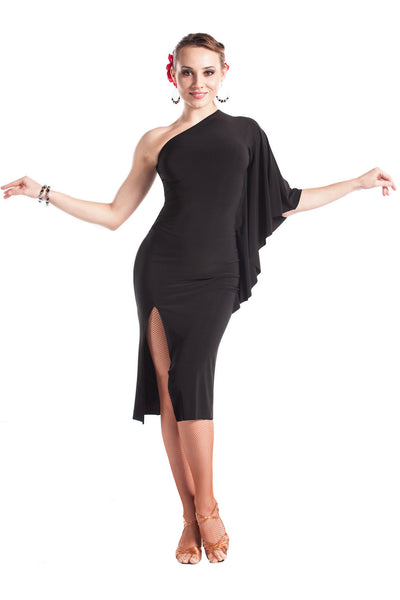 """Fabulous in Black"" Latin Dance Dress - DanceLuxe Boutique"