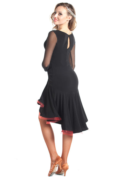 """Joanna Net Sleeve"" Latin Dance Dress"