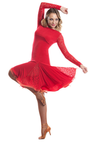 Fabiana Red Latin Dress