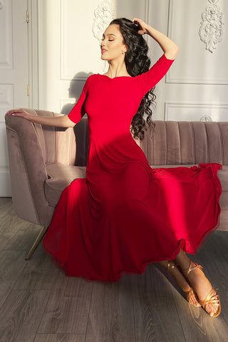 """Anastasia"" Red Ballroom Dress - DanceLuxe Boutique"