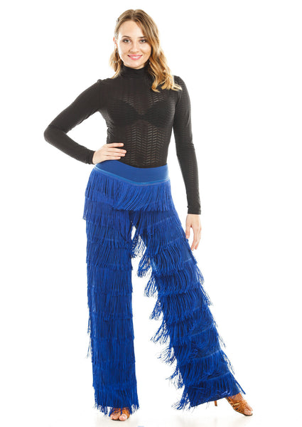 Dance Fringe Pants Blue - DanceLuxe Boutique