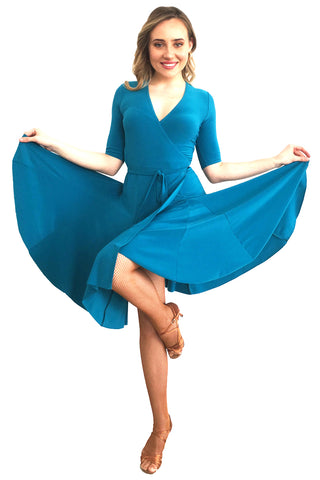 Teal Wrap Latin Dress - DanceLuxe Boutique