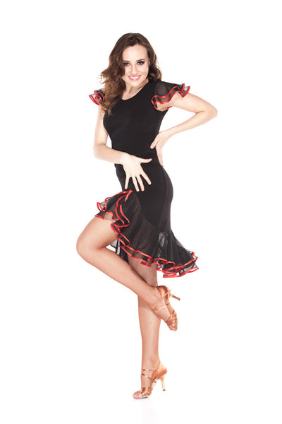 """Ruffle Glamour"" Latin Dance Dress - DanceLuxe Boutique"