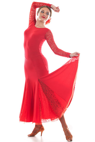 """Grace Red Lace"" Ballroom Dress - DanceLuxe Boutique"