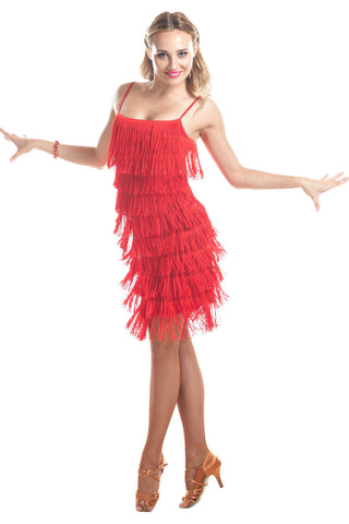 """IBIZA Red"" Fringe Dance Dress - DanceLuxe Boutique"