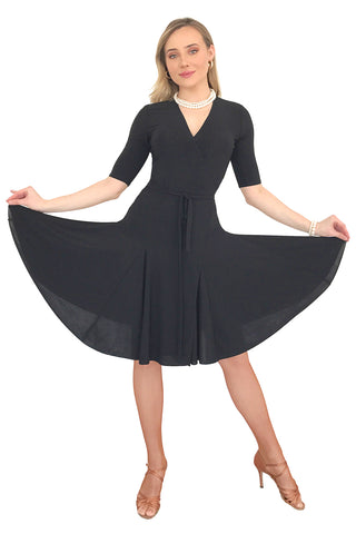 Black Wrap Latin Dress - DanceLuxe Boutique