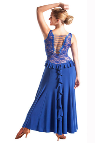 """Sexy Blue Lace"" Ballroom Latin Dance Dress - DanceLuxe Boutique"