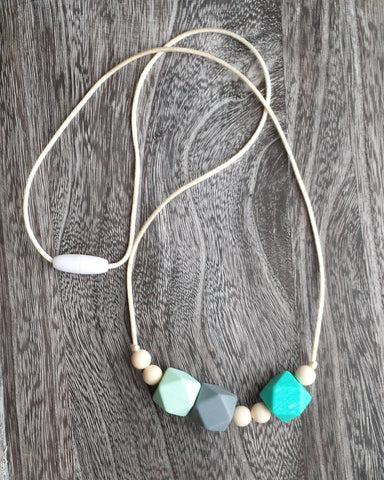 Geometric Bead Silicone Teething Necklace in Aqua