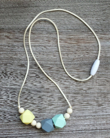 Geometric Bead Silicone Teething Necklace in Springtime Yellow