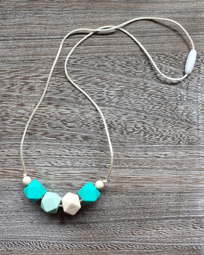 Geometric Bead Silicone Teething Necklace in Blue Skies