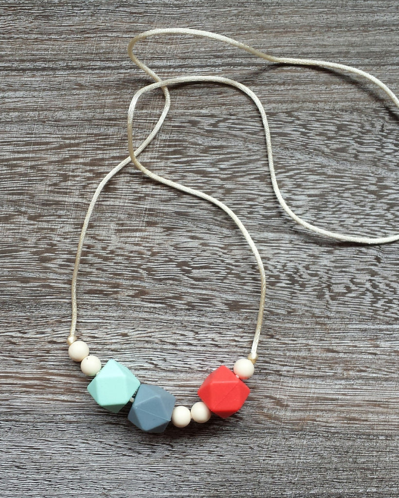 Geometric Bead Silicone Teething Necklace in Bright Orange