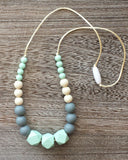 Silicone Teething Necklace in Mint and Grey