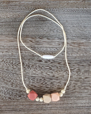 Modern Silicone Teething Necklace in Blush
