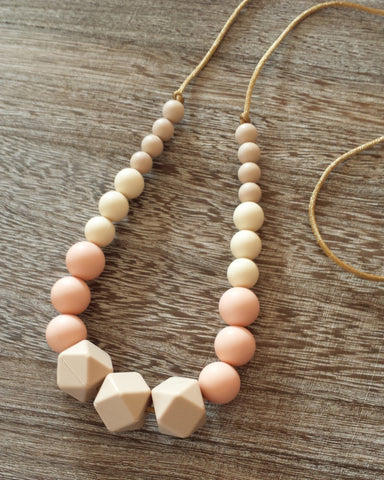 Silicone Teething Necklace in Neutral Beige w Gold Cord