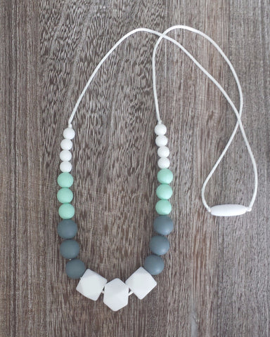 Silicone Teething Necklace in Mint and White