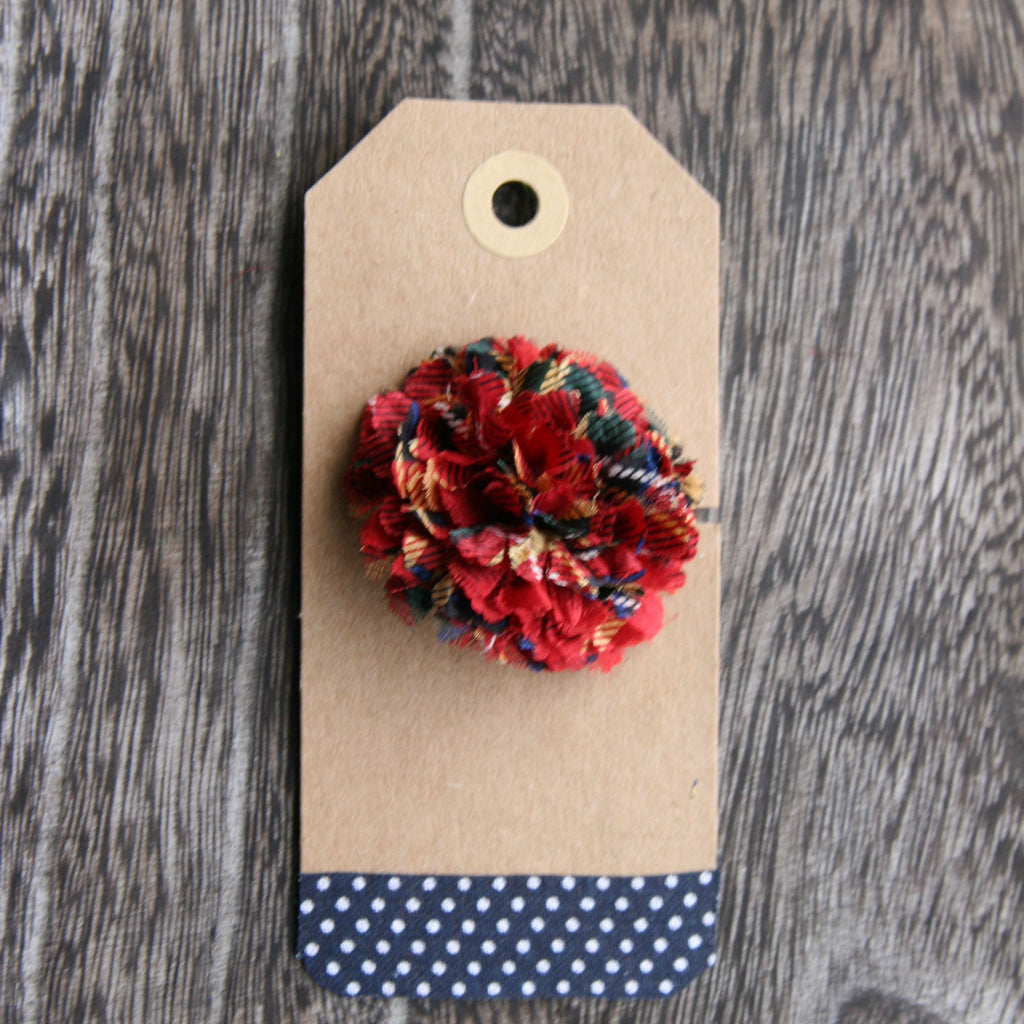 Red Christmas Plaid Boutonniere