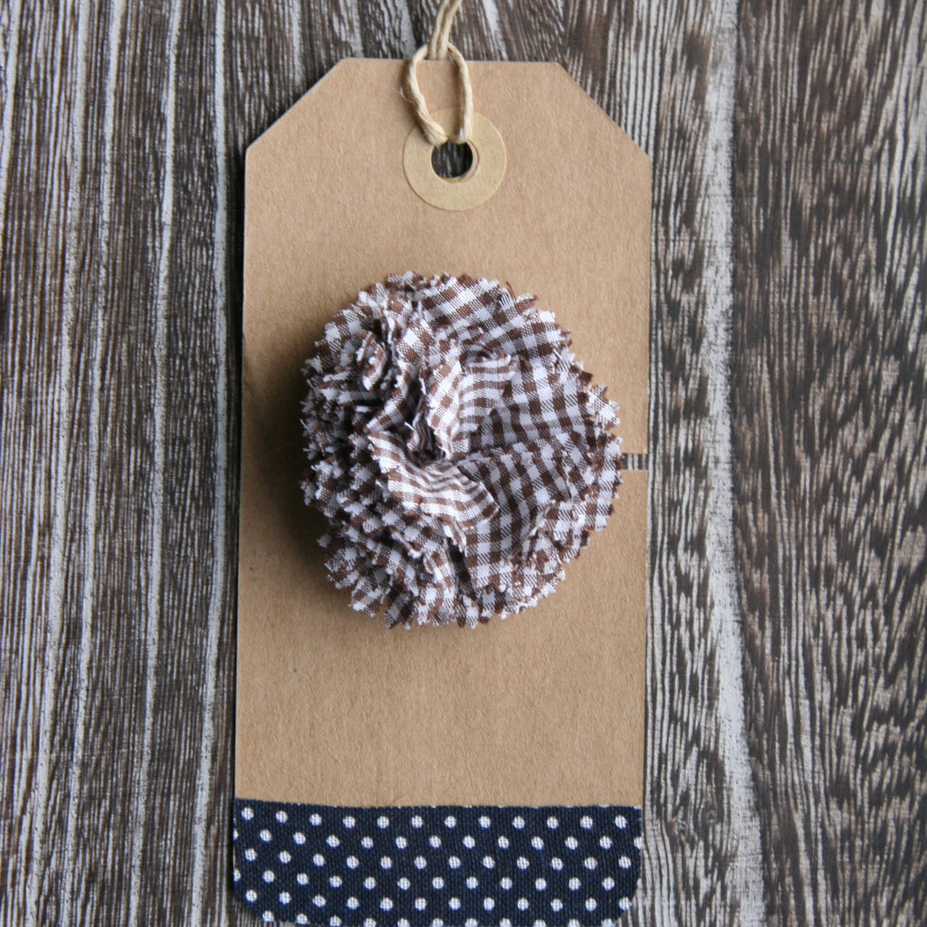 Brown Gingham Boutonniere