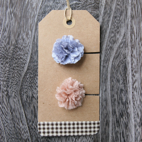 Tiny Gents Blue and Peach Boutonniere - 2pcs