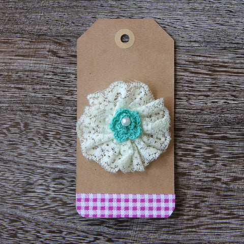 Elastic Lace Pinwheel in Melon Green