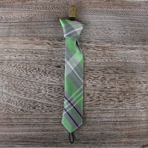 Pacifier Clip in Green Plaid