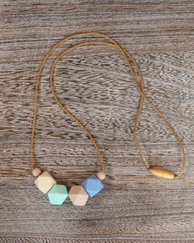 Silicone Teething Necklace in Serenity Blue