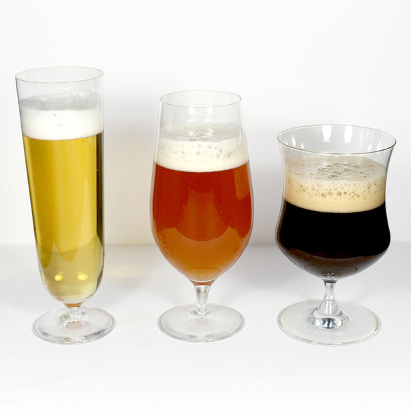 Light, medium, and dark beers in tall, average and short glassware