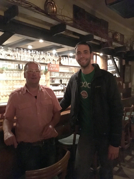 Brtyce with the owner of the local pub in Evergem
