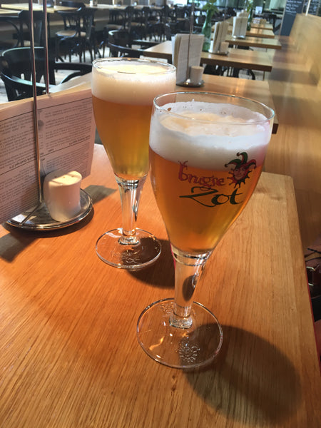 Tasting Brugse Zot blonde ale after the Brewery tour