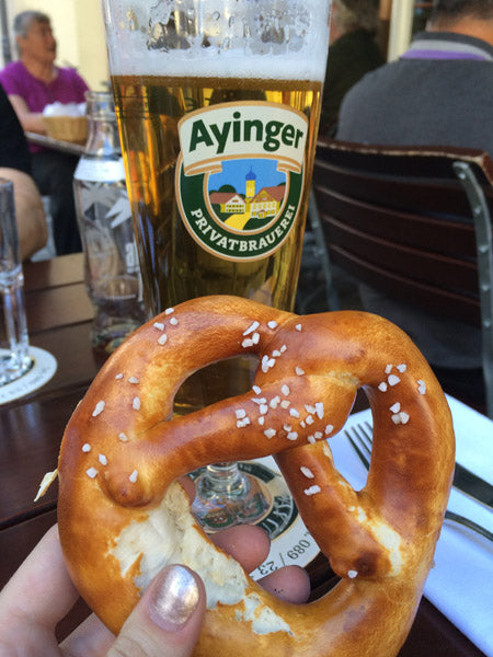 German Beer and Pretzel
