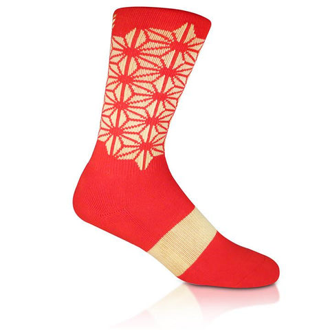 Modern Envy Apparel good fortune crew sock Red with Gold side view