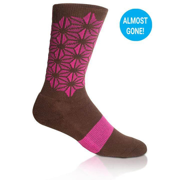 Modern Envy Apparel good fortune crew sock Brown with Fuchsia side view