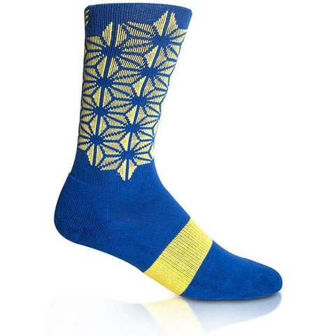 Modern Envy Apparel good fortune crew sock Blue with Yellow side view