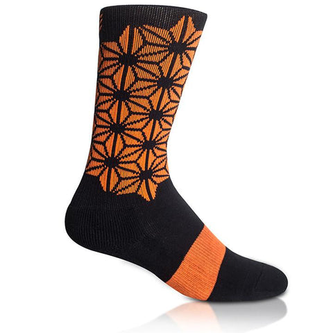 Modern Envy Apparel good fortune crew sock Black with Orange side view