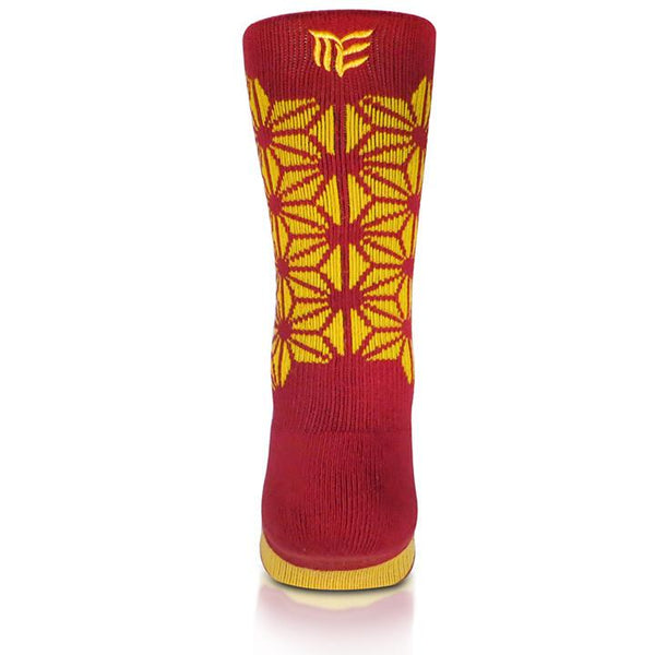 Modern Envy Apparel good fortune crew sock Maroon with Gold logo view