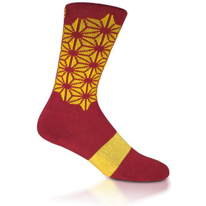 Modern Envy Apparel good fortune crew sock Maroon with Gold side view