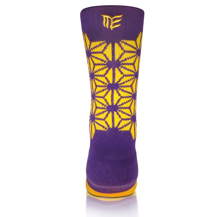 Modern Envy Apparel good fortune crew sock purple/yellow logo view