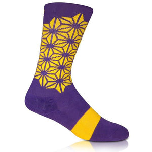Modern Envy Apparel good fortune crew sock purple/yellow side view