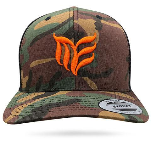 Camouflage Orange MEA logo snapback Trucker hat - Modern Envy Apparel