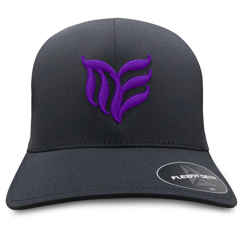 Black seamless MEA logo Flexfit hat Purple logo - Modern Envy Apparel