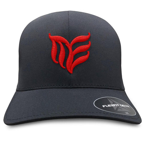 Black seamless MEA logo Flexfit hat Red logo - Modern Envy Apparel