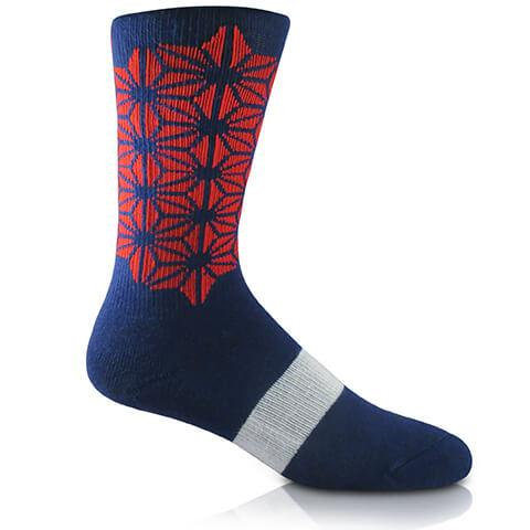 Modern Envy Apparel Blue and Red with White Archband crew sock side view