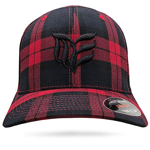 Red with Black MEA logo Tartan Flexfit hat - Modern Envy Apparel