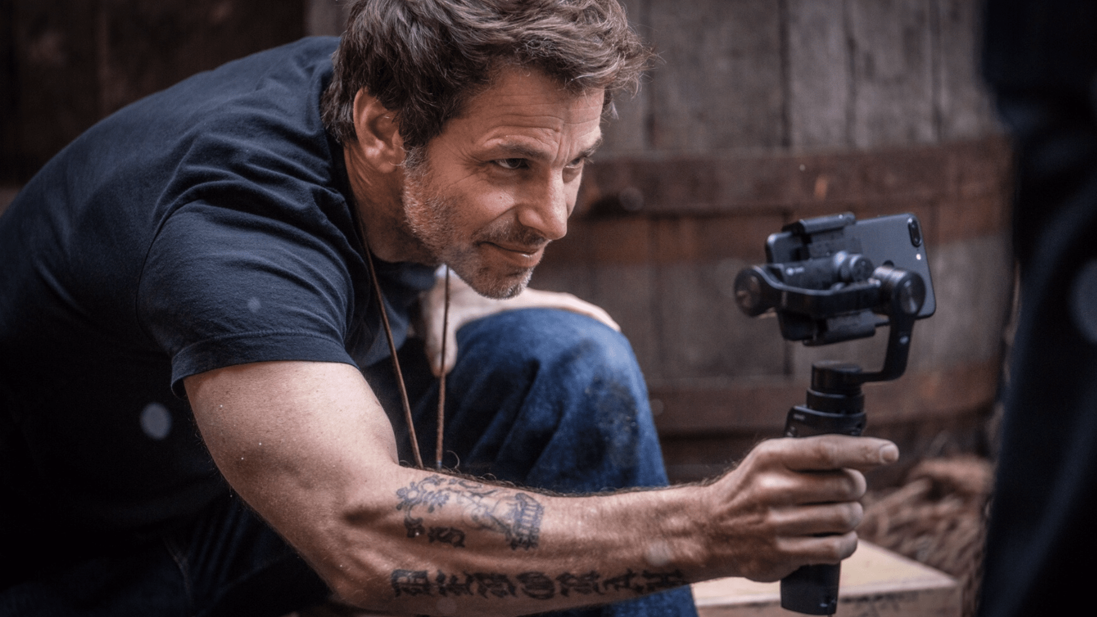 Zack Snyder uses Beastgrip Pro for iPhone film Snow Steam Iron
