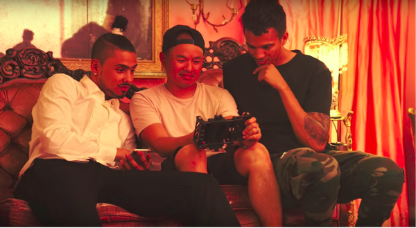 "Luis Guanzon showing Quincy the ""Snuggle Up"" music video on the Google Pixel and Beastgrip Pro"
