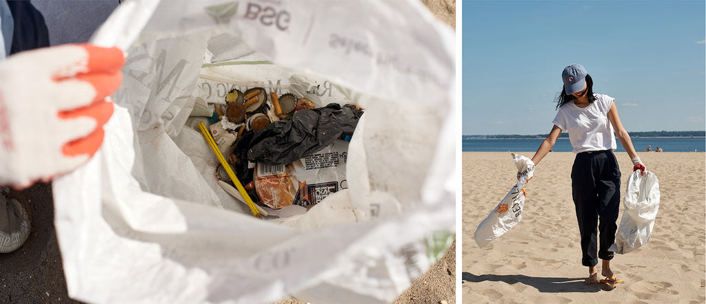 Trash bag full of cigarette butts, bottle caps and plastic that was found by team Tidal on the beach that day