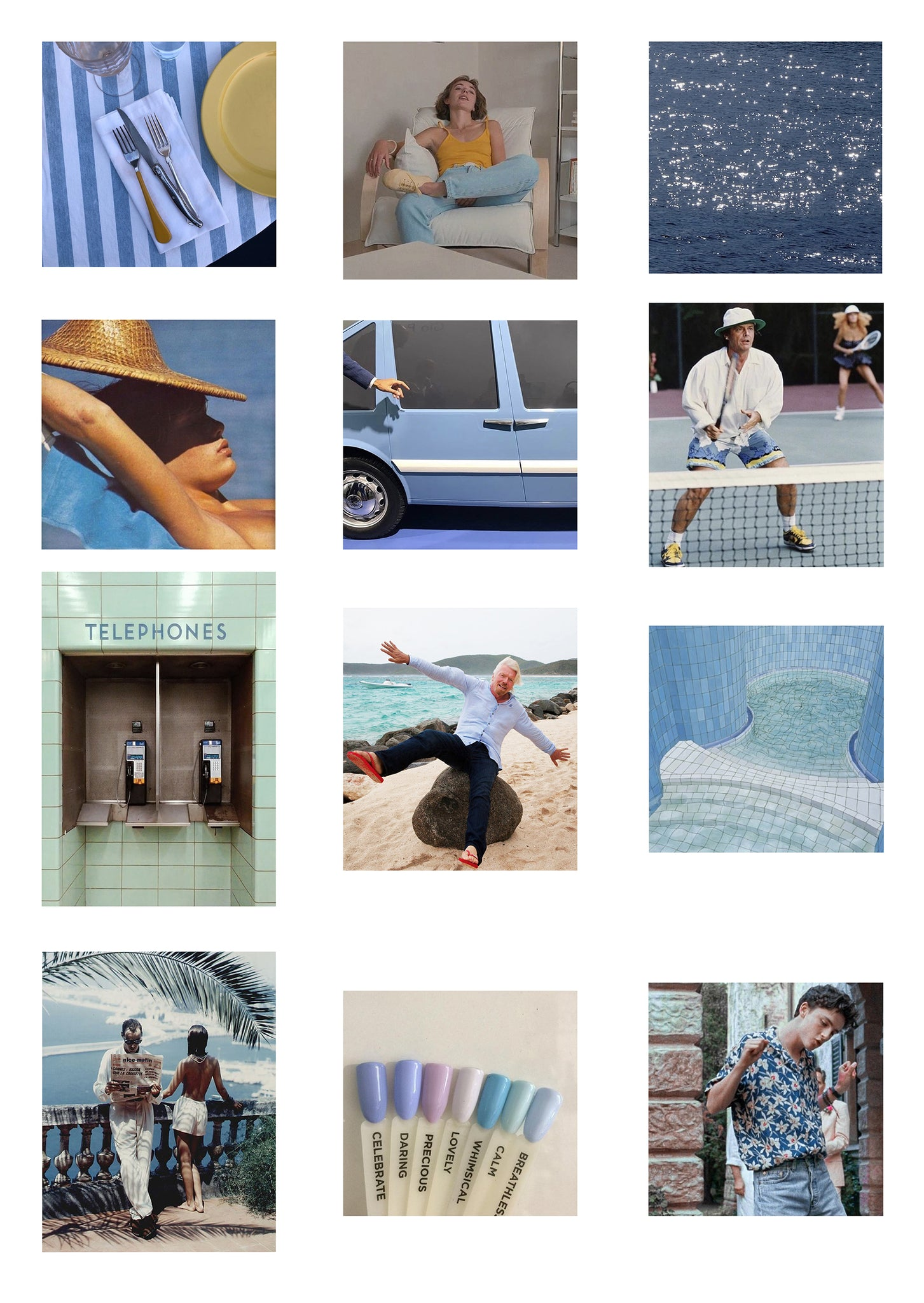 Summer moodboard inspiration featuring blue and turquoise hued images of people, places and things