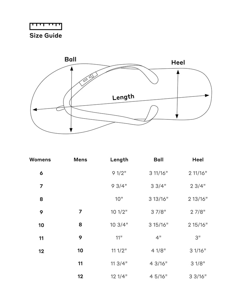 Tidal New York flip flop size guide. Find your perfect fit