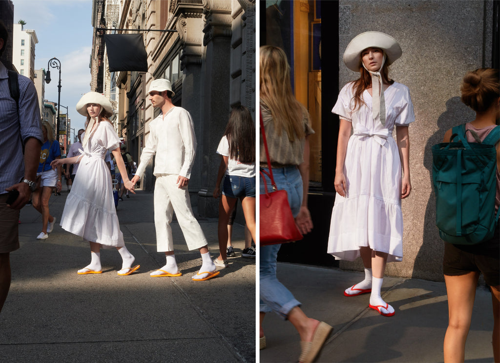 Isabelle and Nelson's summer white outfit perfectly showcases the pop of color that our Tidal flip flops are known for