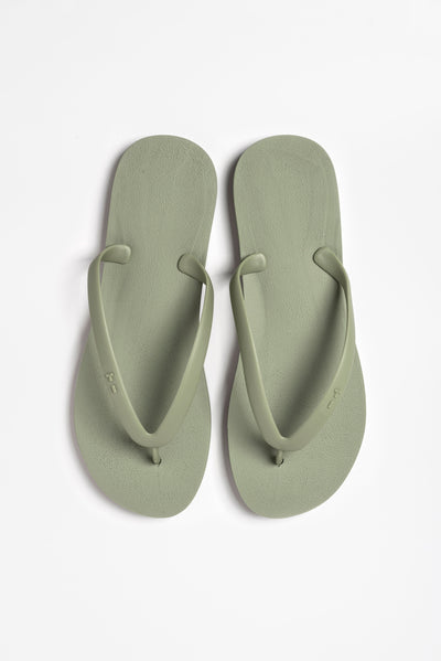 Overhead view of men's flip flops in classic olive green shade