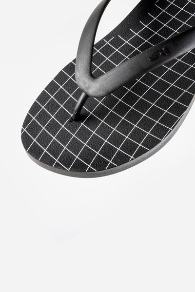 Men's black and white flip flops.
